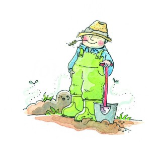 GARDENER WITH SPADE - ILLUSTRATION