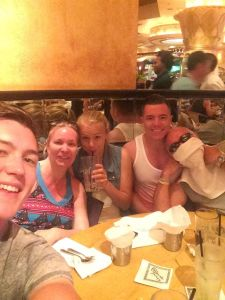 The tribe at an unnamed, secret location called The Cheesecake Factory. The fat bastard on the right, just about to pass out from overeating, is me.